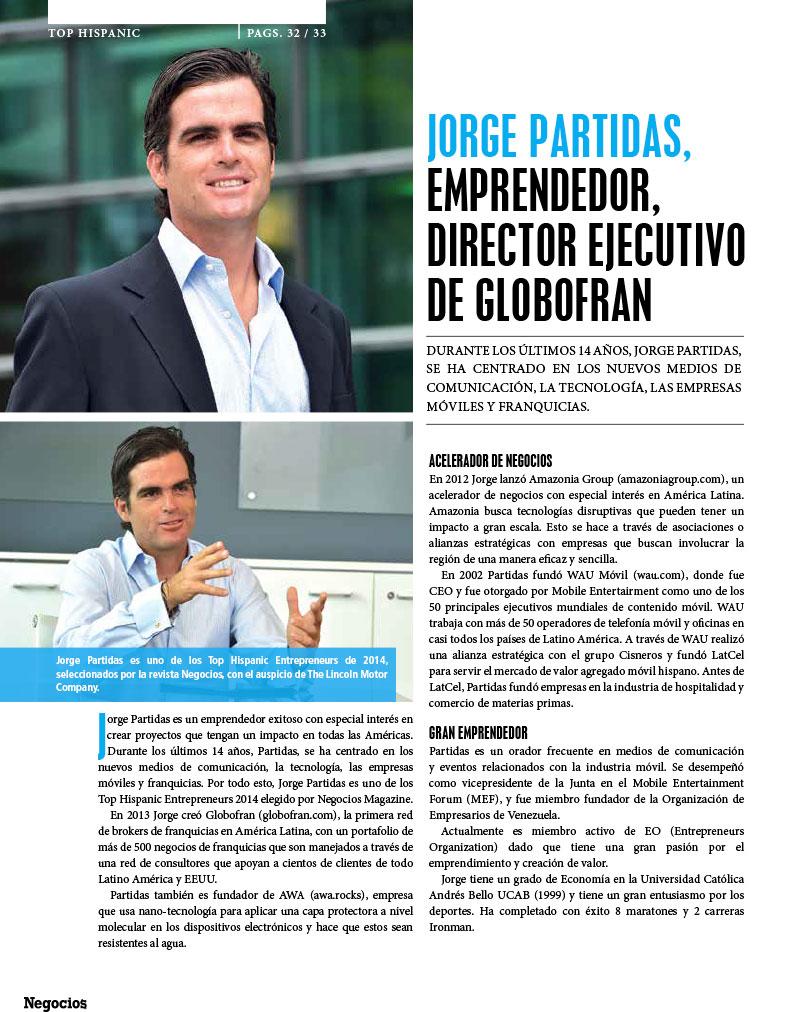JORGE PARTIDAS, EMPRENDEDOR, DIRECTOR EJECUTIVO DE GLOBOFRAN