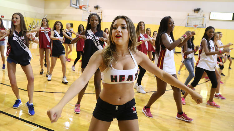 The Miami Heat dancers hosted a dance lesson for the Miss Universe contestants