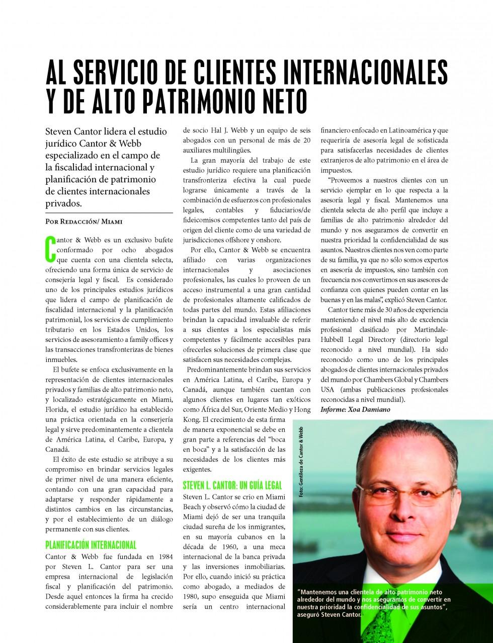 AL SERVICIO DE CLIENTES INTERNACIONALES Y DE ALTO PATRIMONIO NETO