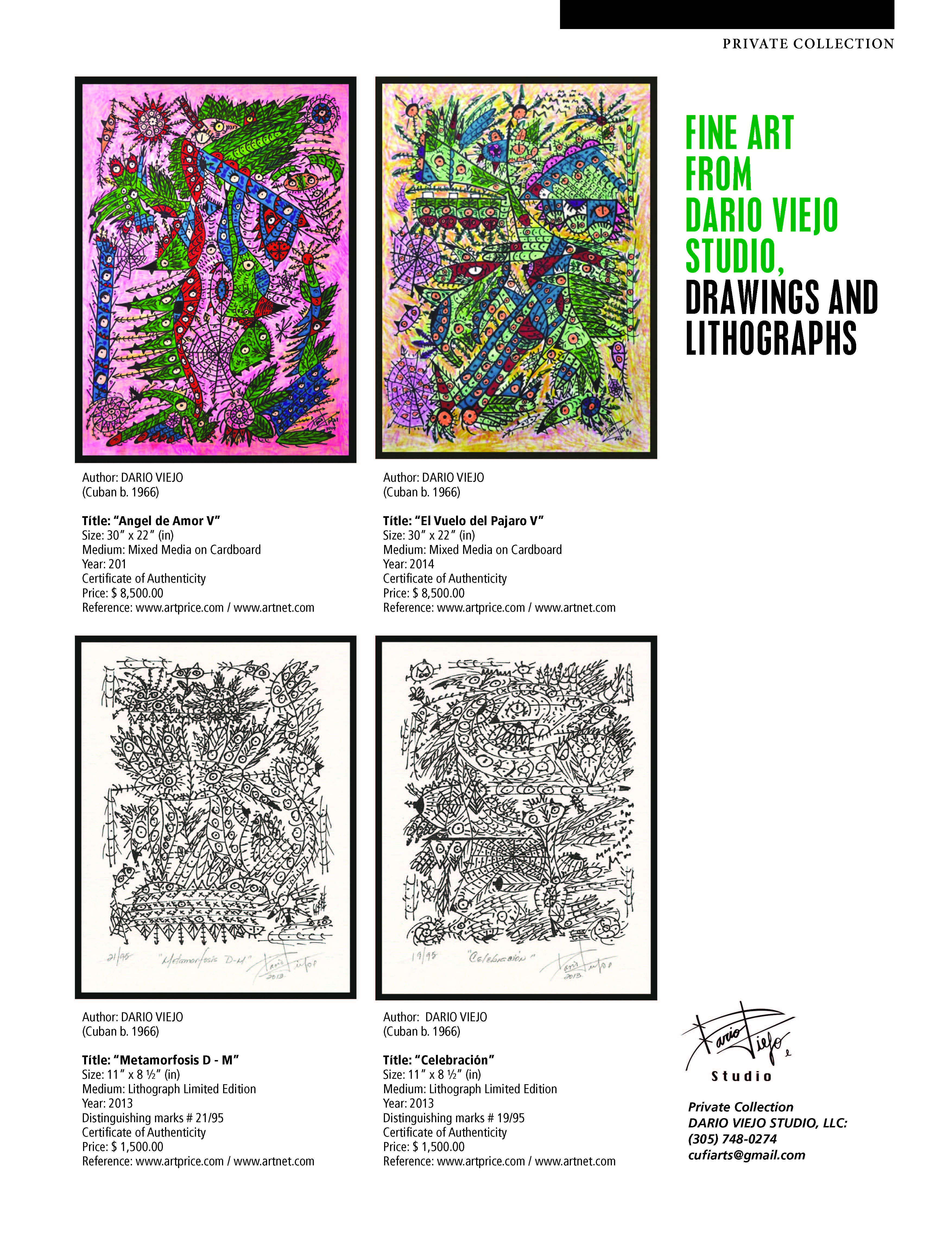 FINE ART FROM DARIO VIEJO STUDIO DRAWINGS AND LITHOGRAPHS