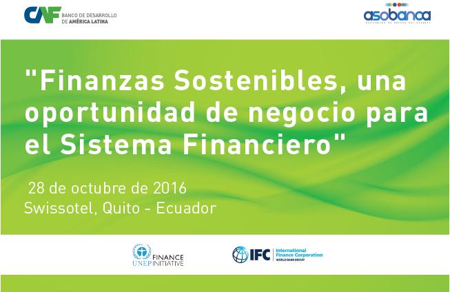 """CAF INVITA AL EVENTO """"FINANZAS SOTENIBLES"""" EN QUITO, ECUADOR"""